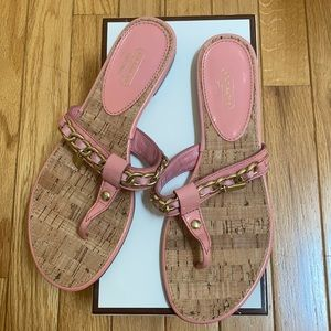 Coach Rizzo crinkle pink patent sandal new 8